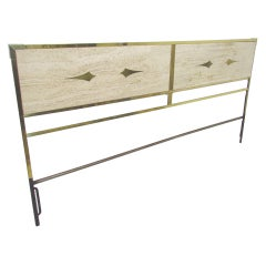 Hollywood Regency Brass and Travertine King Size Headboard