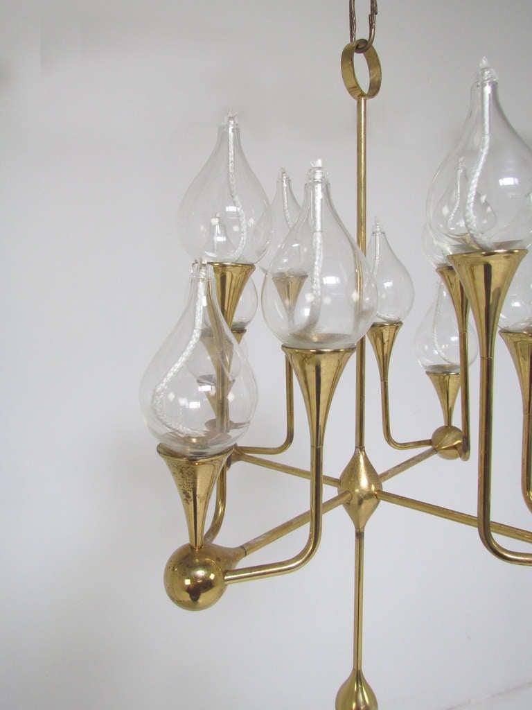 Rare Twelve Arm Danish Oil Lamp Chandelier by Freddie Andersen, ca ...