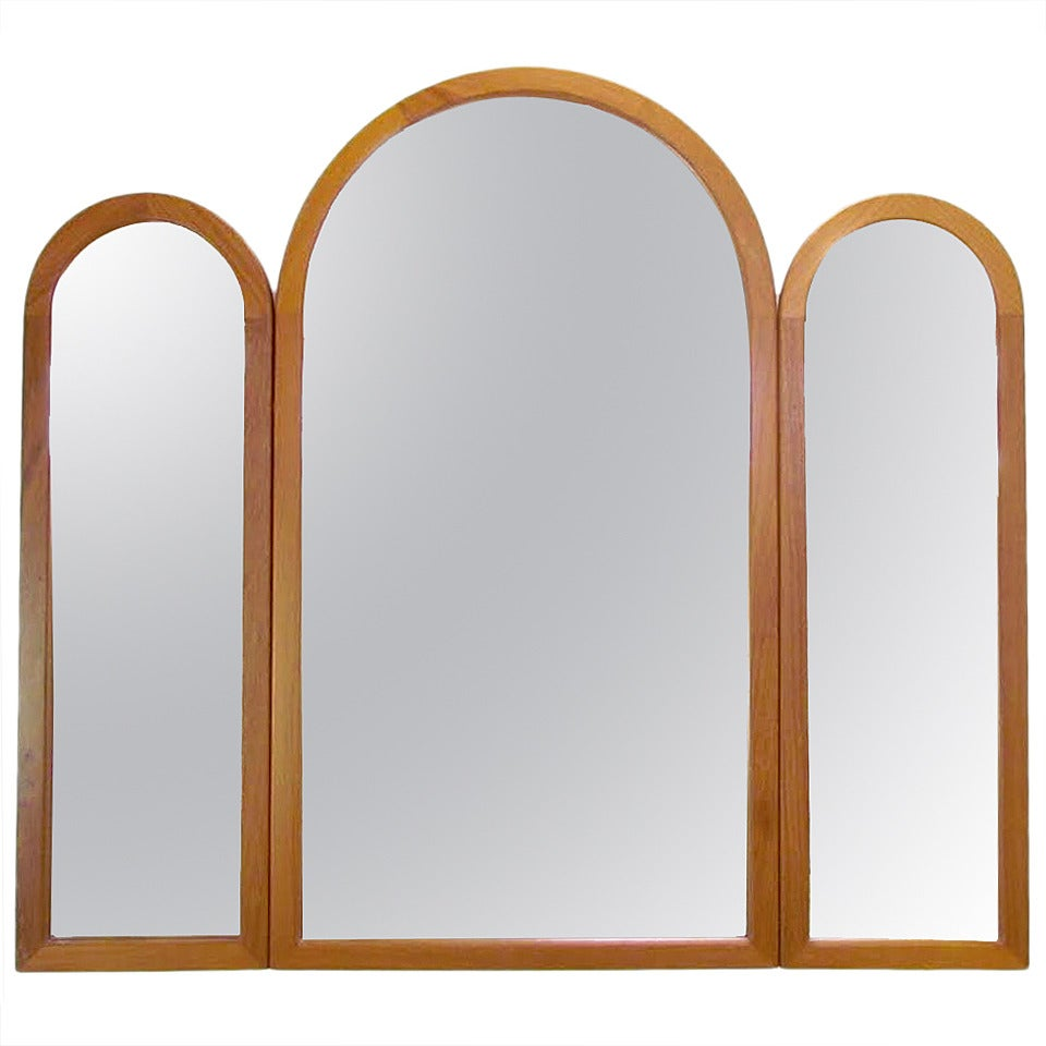 Danish Teak Adjustable Tri Fold Wall Mirror By Pedersen