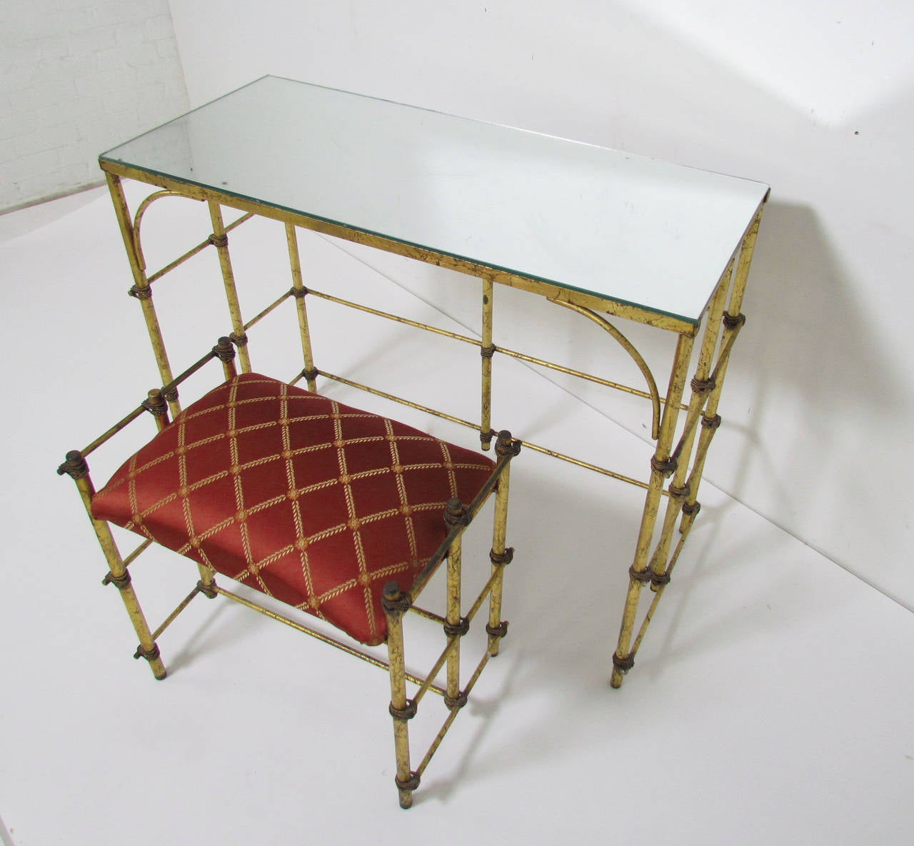 Hollywood Regency Style Gilded Dressing Table With
