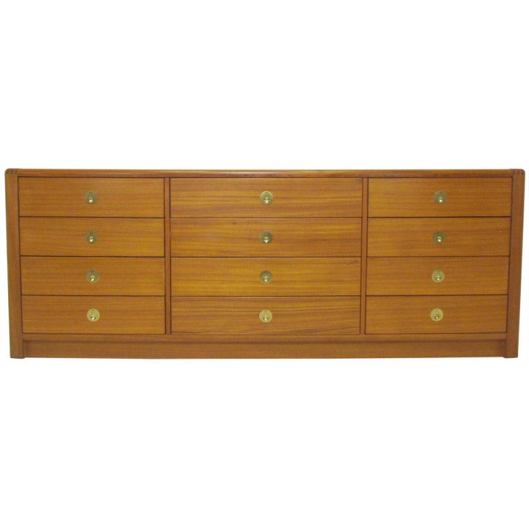 1970s american sculptural chest of drawers brass details bok