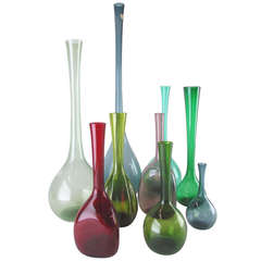 Grouping of Nine Hand Blown Swedish Art Glass Vases circa 1960s