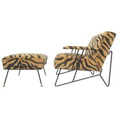 Sculptural Wrought Iron Lounge Chair and Ottoman by Dorothy Schindele