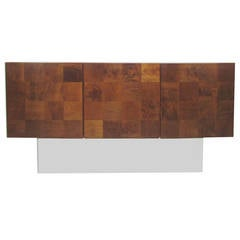 Patchwork Walnut Burl and Mirrored Chrome Credenza by Milo Baughman
