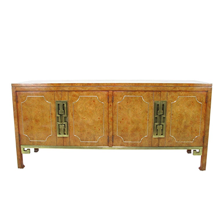 Greek key burl wood cabinet by mastercraft at 1stdibs for Burl wood kitchen cabinets