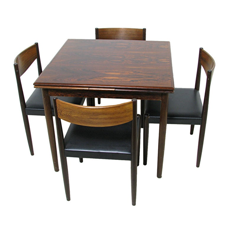 Danish Rosewood Extendable Dining Table W Chairs Ca