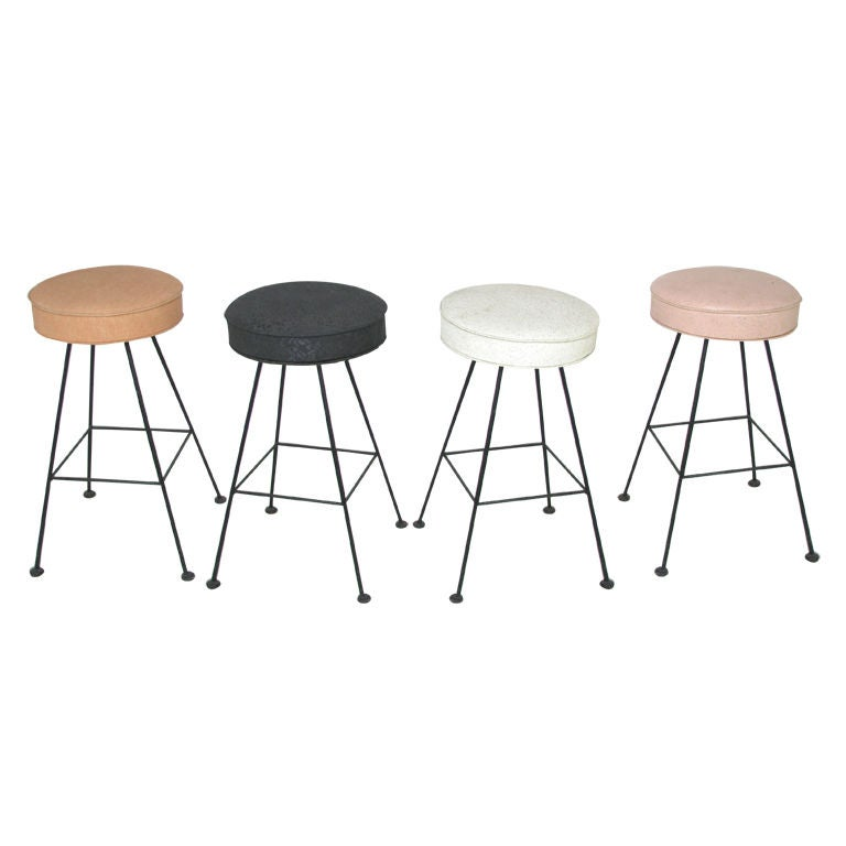 Set Of Four Swivel Bar Stools Ca 1950s At 1stdibs