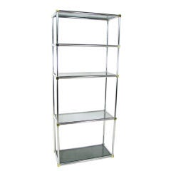 Chrome & Brass Etagere Shelving Unit ca. 1970s