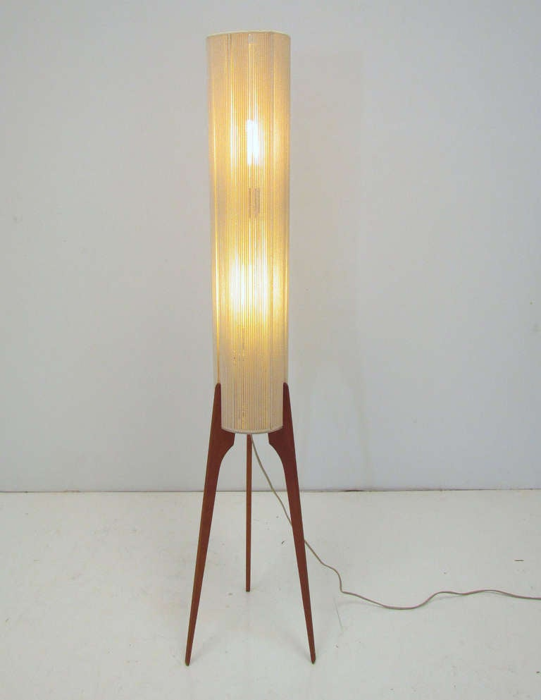 danish teak tripod floor lamp ca 1960s at 1stdibs