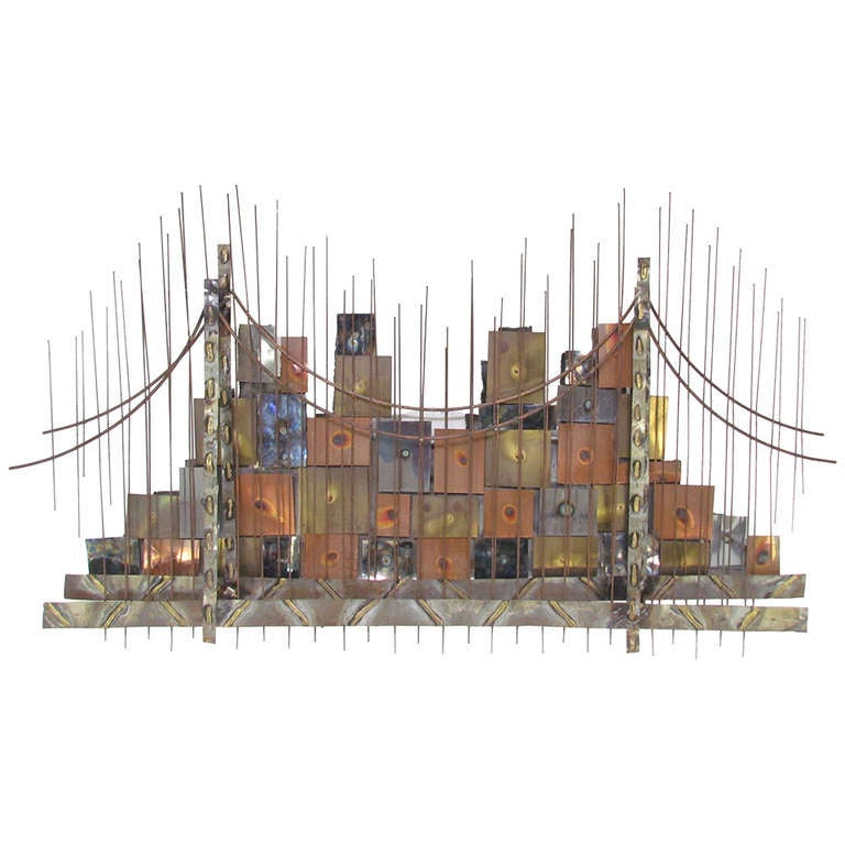 Brutalist Metalwork Cityscape & Bridge  Wall Sculpture in style of Curtis Jere
