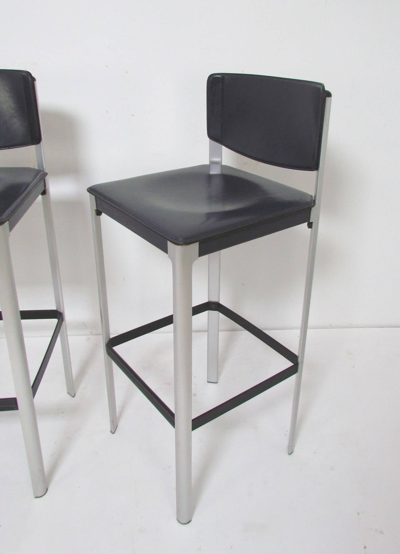 Set Of Three Italian Leather Bar Stools By Matteograssi At