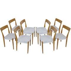 Set of Eight Danish Modern Teak Sculptural Dining Chairs