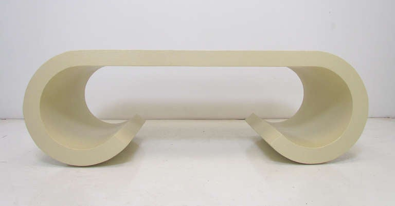 Karl Springer Style Waterfall Linen Wrapped Coffee Table Ca. 1970s 2