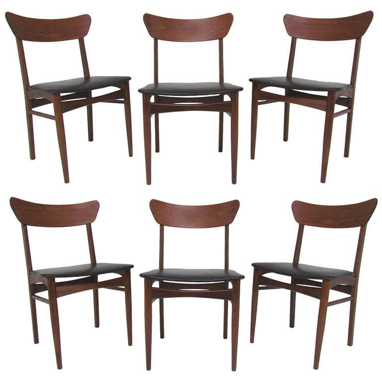 Set of six danish teak dining chairs by farstrup ca 1960s at 1stdibs - Scandinavian teak dining room furniture design ...