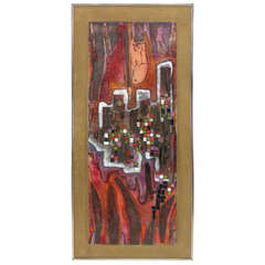 Abstract Expressionist Enamel on Copper Painting by Judith Daner, ca. 1970s