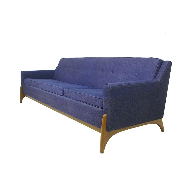 Mid Century Modern Four Seat Sofa With Sculptural Walnut