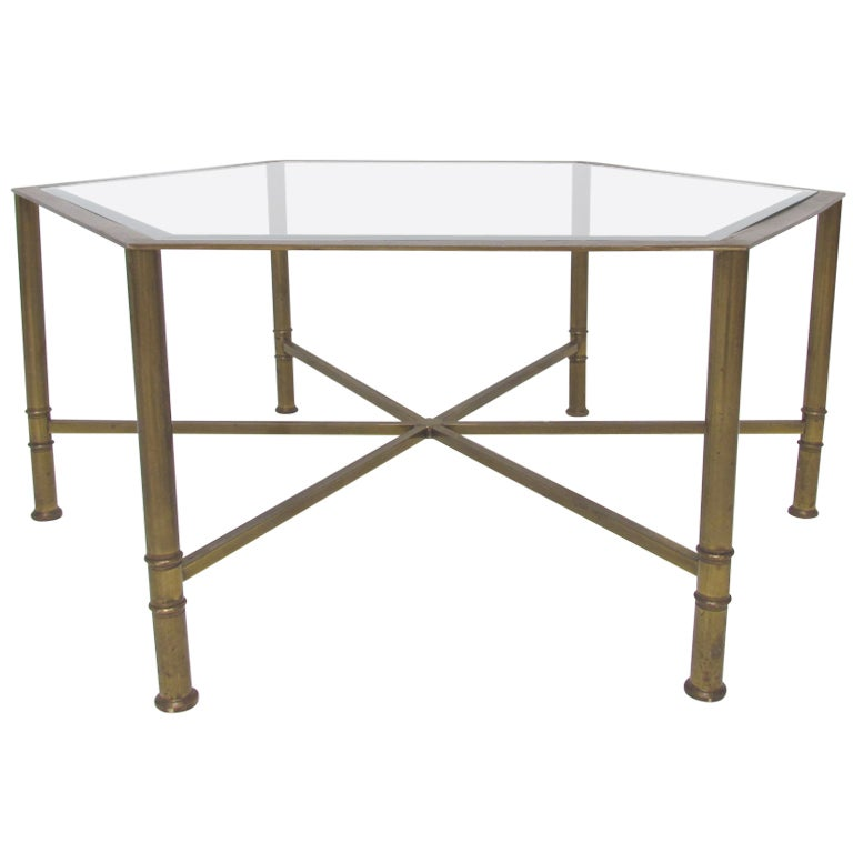 Brass Hexagonal Coffee Table By Mastercraft Made In Italy At 1stdibs