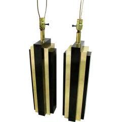 Pair of Deco Inspired Skyscraper Table Lamps ca. 1970s