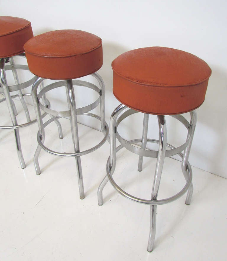 Set Of Four Industrial Swivel Bar Stools Ca 1950s At 1stdibs