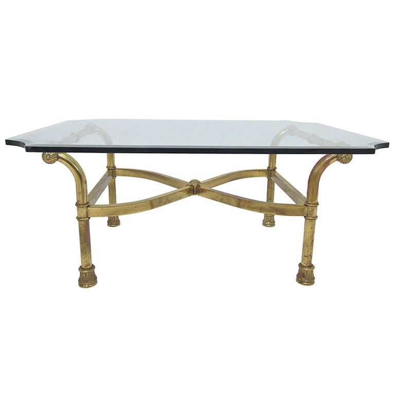 Hollywood Regency Italian Brass Scroll Coffee Table For Sale At 1stdibs