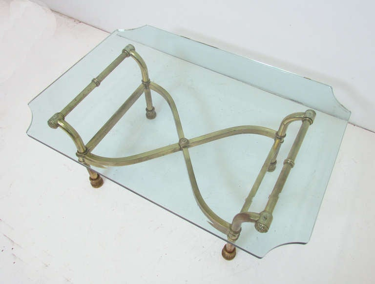 Hollywood Regency Italian Brass Scroll Coffee Table In Good Condition For Sale In Peabody, MA