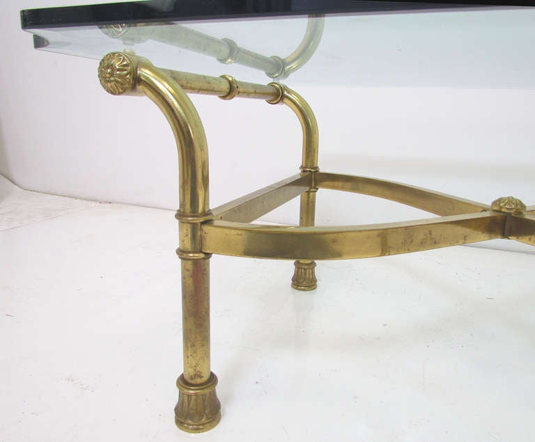 Hollywood regency italian brass scroll coffee table for for Table th scroll