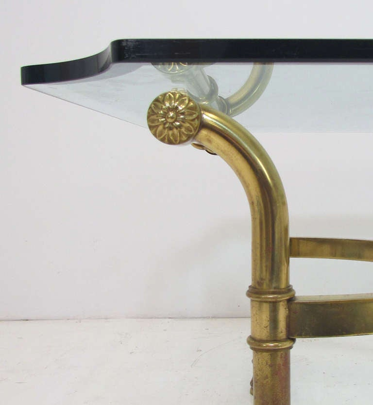 Hollywood Regency Italian Brass Scroll Coffee Table 6
