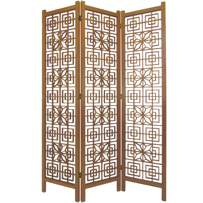 Mid-Century Teak Fretwork Three Panel Screen Room Divider