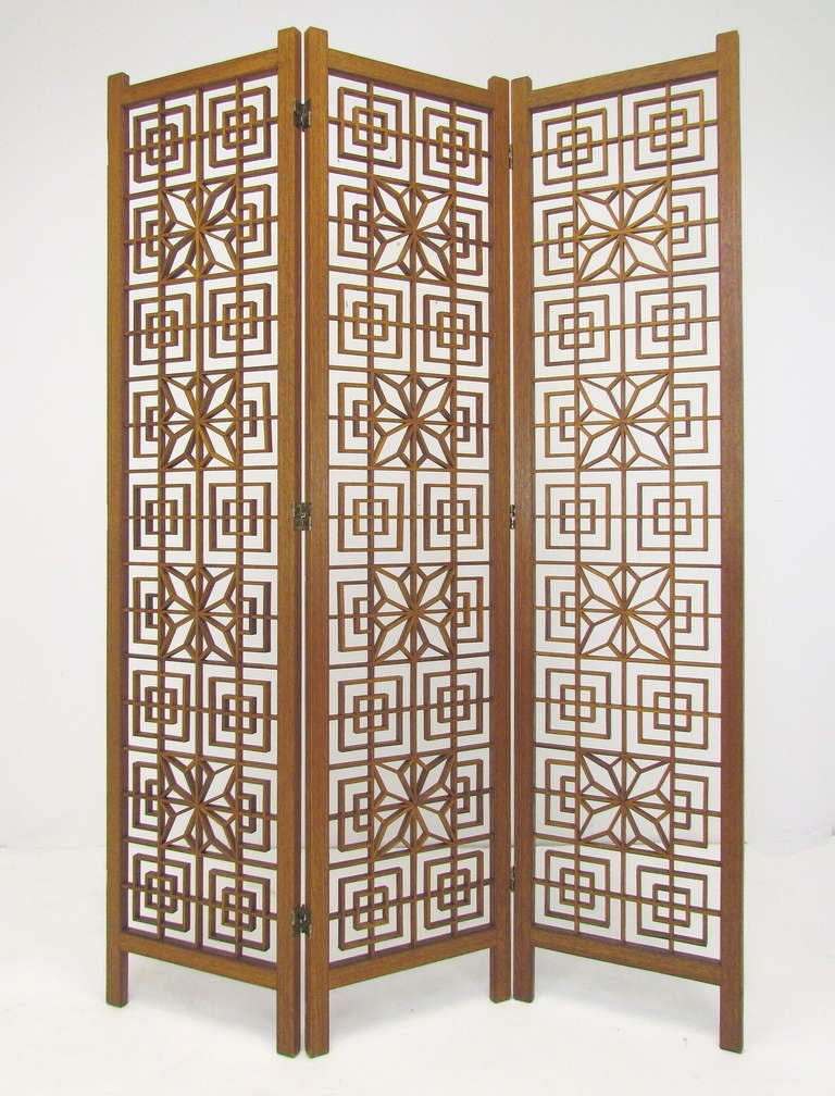 Mid-Century Teak Fretwork Three Panel Screen Room Divider image 2