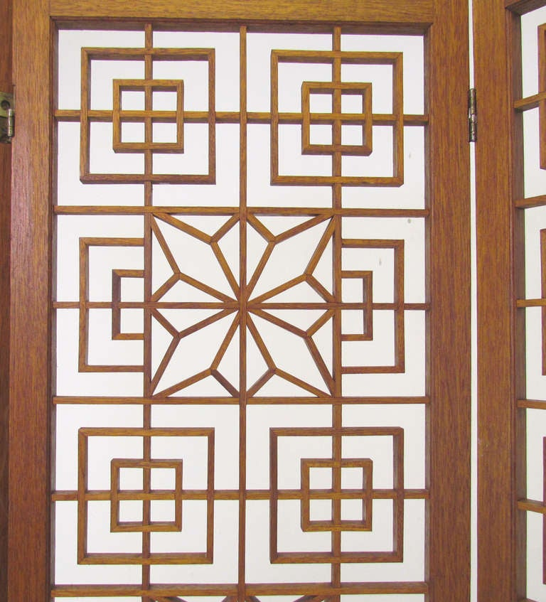 Mid-Century Teak Fretwork Three Panel Screen Room Divider image 4
