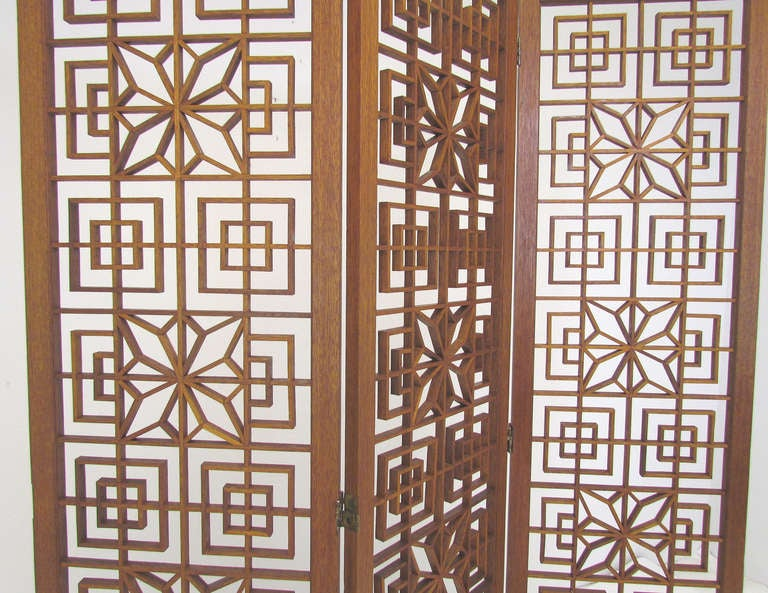 Mid-Century Teak Fretwork Three Panel Screen Room Divider image 3