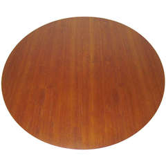 Danish Teak Large Round Expandable Dining Table by Ib Kofod-Larsen for Christensen & Larsen