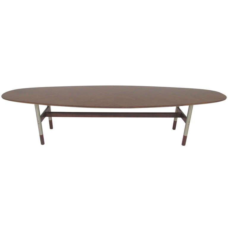 Surfboard Coffee Table In Teak And Rosewood Attributed To Arne Vodder At 1stdibs