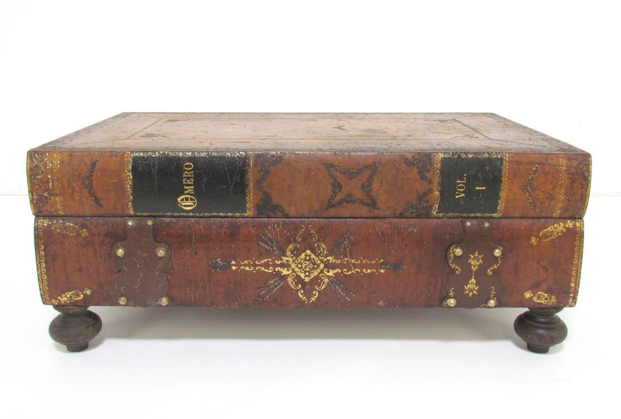 Italian Leather Book Form Table in manner of Maitland - Smith 3
