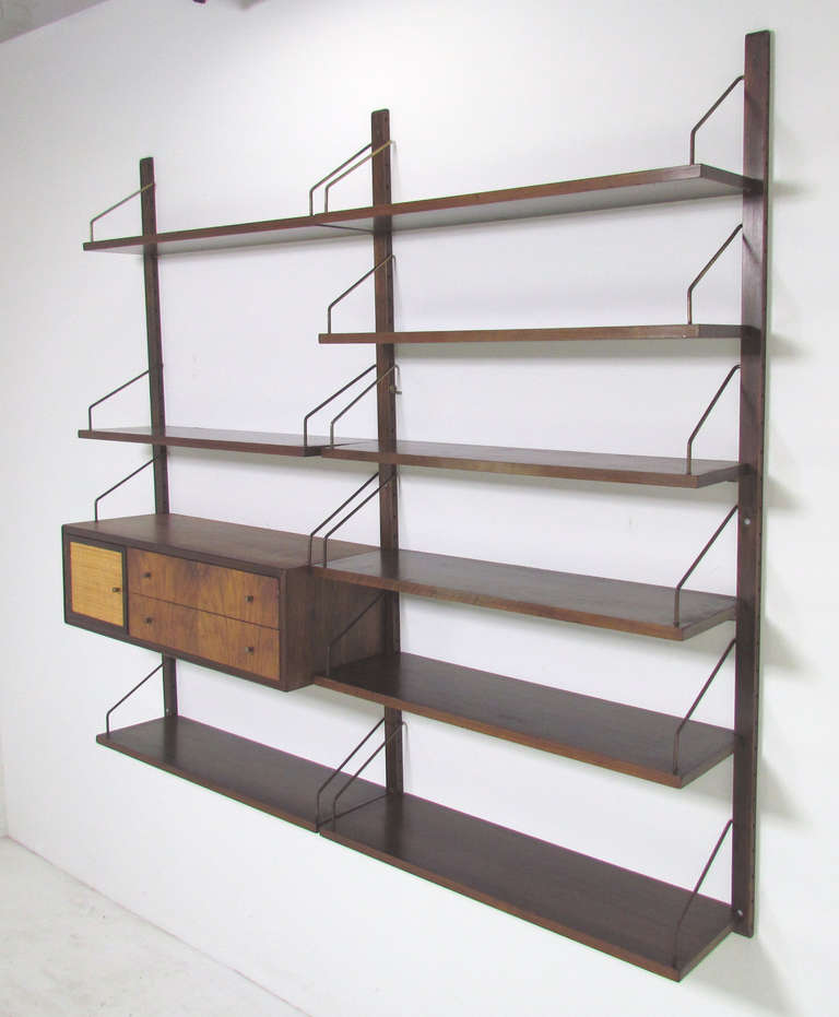 mid century cado wall mounted book case shelving unit at. Black Bedroom Furniture Sets. Home Design Ideas
