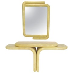 Sculptural Wall Mount Console Table and Mirror in Manner of Karl Springer