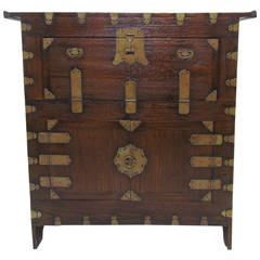 Antique 19th Century Korean Cabinet or Bandaji Chest with Brass Hardware