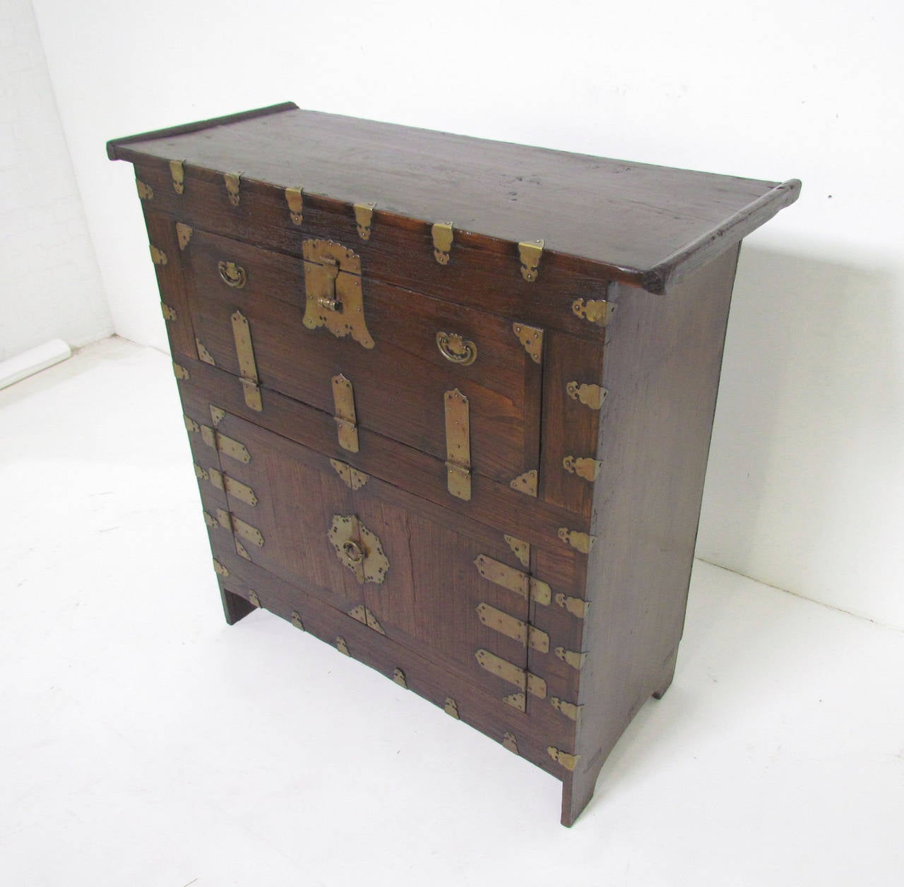 Antique 19th Century Korean Cabinet or Bandaji Chest with Brass ...