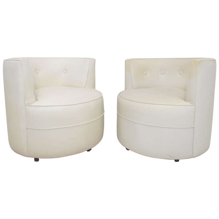 Pair Of Barrel Form Swivel Lounge Chairs Ca 1960s At 1stdibs