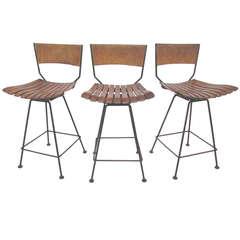 Set of Three Swivel Counter Height Bar Stools by Arthur Umanoff for Raymor
