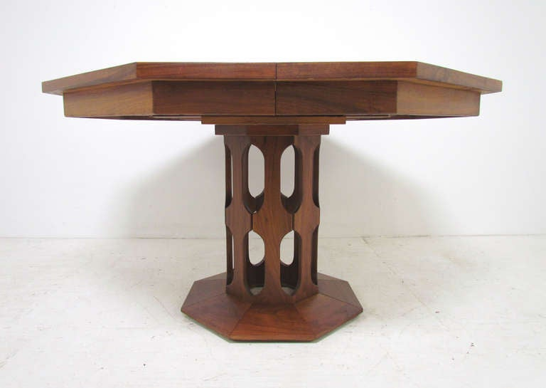 Inlaid Walnut Mid Century Dining Table With Three Leaves By