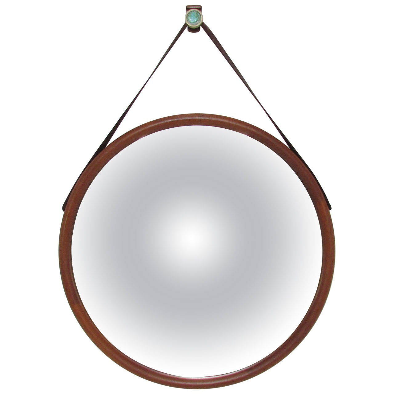 Large danish teak wall mirror with leather strap and tile hook at large danish teak wall mirror with leather strap and tile hook 1 amipublicfo Gallery