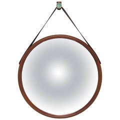 Large Danish Teak Wall Mirror with Leather Strap and Tile Hook