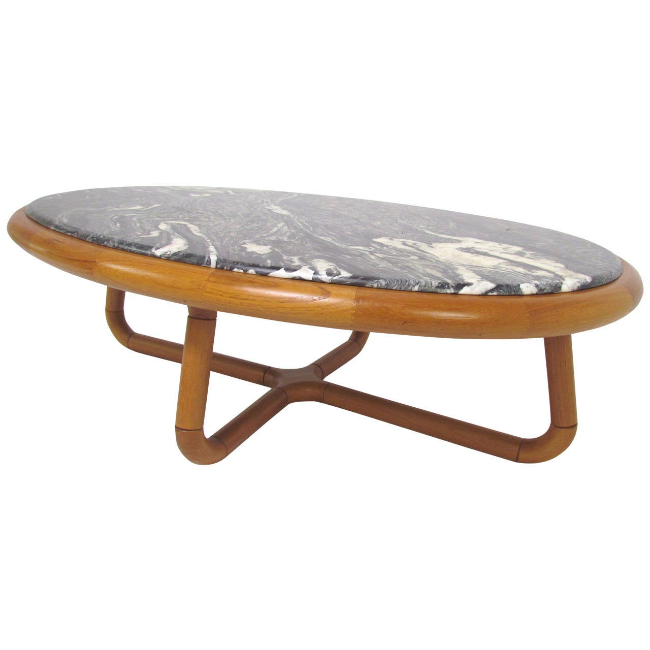 Scandinavian Teak Coffee Table: Sculptural Danish Teak Coffee Table With Zebra Marble Top