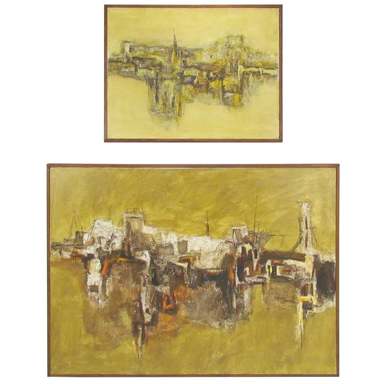 Pair of Mid-Century Abstract Landscape Paintings of Taos Pueblo For ...
