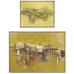 Pair of Mid-Century Abstract Landscape Paintings of Taos Pueblo