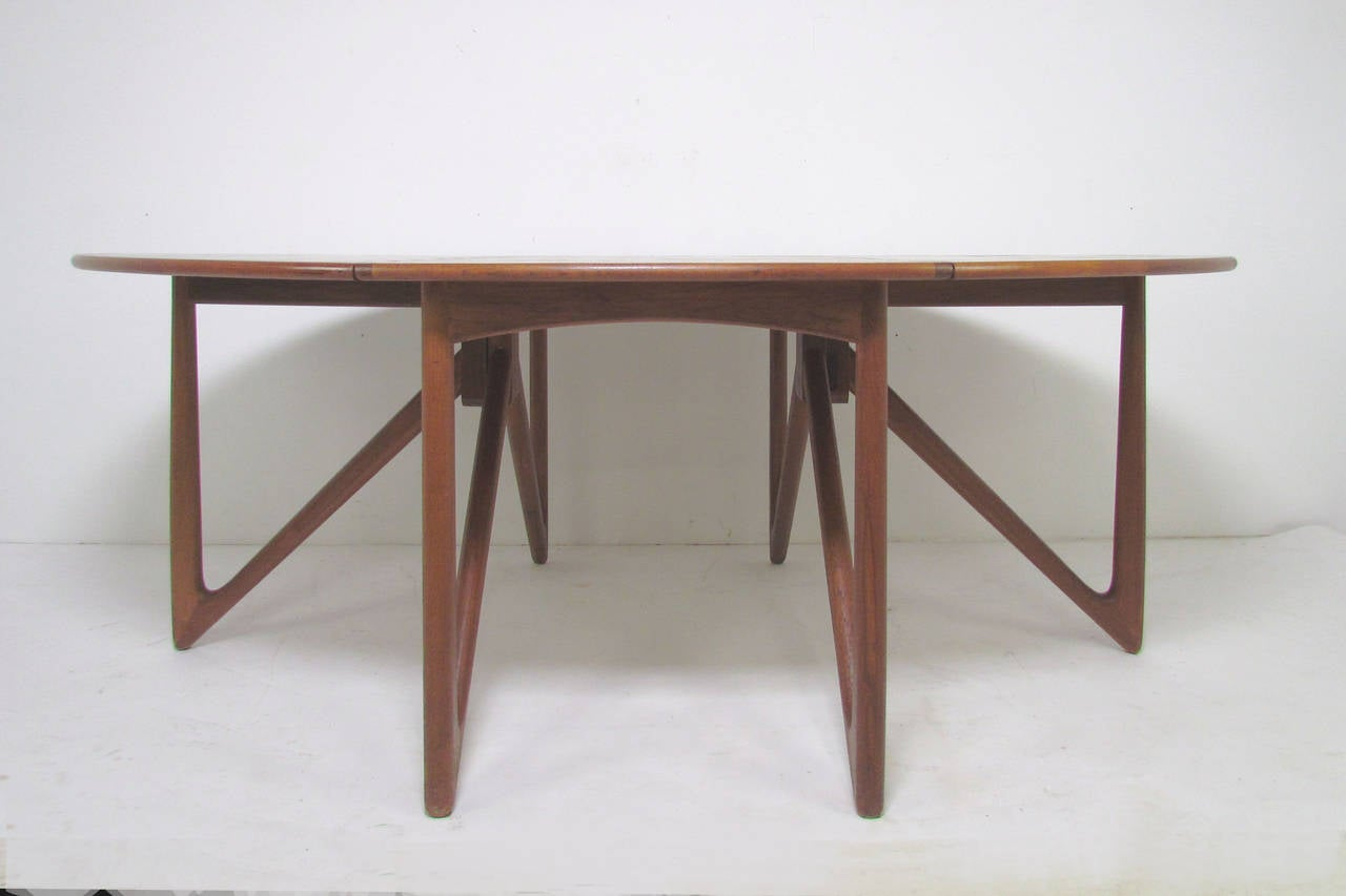 Danish teak gate leg drop leaf oval dining table by kurt for Dining room table 2 leaves