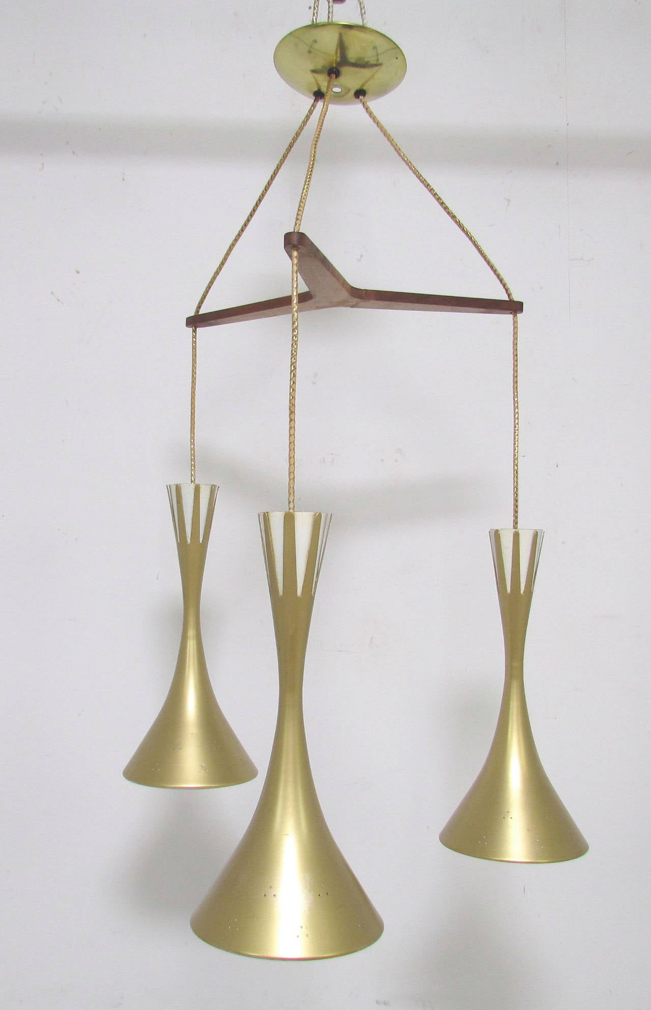mid century tri cone pendant light in the manner of paavo. Black Bedroom Furniture Sets. Home Design Ideas