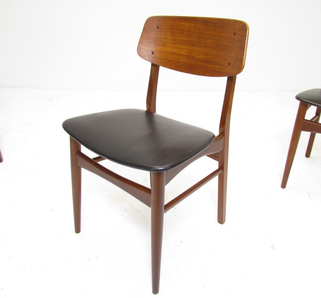 Set of six danish teak dining chairs ca 1950s at 1stdibs - Scandinavian teak dining room furniture ...