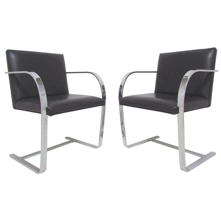 Pair of flat bar cantilever brno chairs by mies van der rohe at